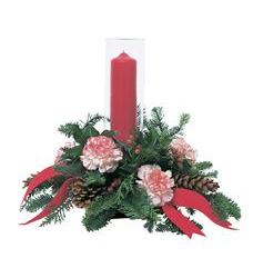 Red Pillar Candle Under Glass (TF95-3)