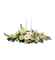 Two White Taper Centerpiece (TF98-1)