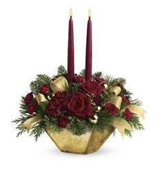 Teleflora's Crimson and Gold Centerpiece (TWR06-3A)