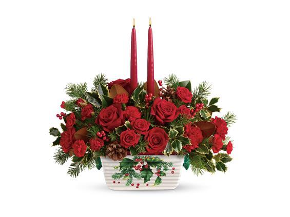 Teleflora s holly glow centerpiece t a