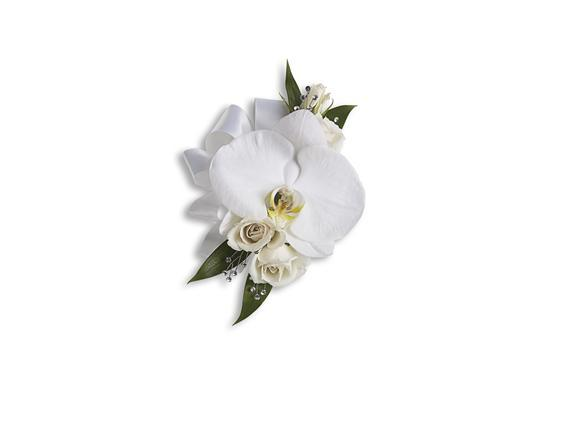 White Orchid and Rose Corsage (T196-5A)