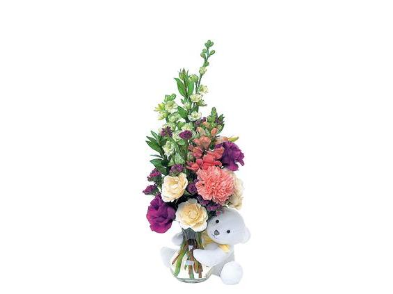 Teleflora's Bear Hug Bear with White Roses