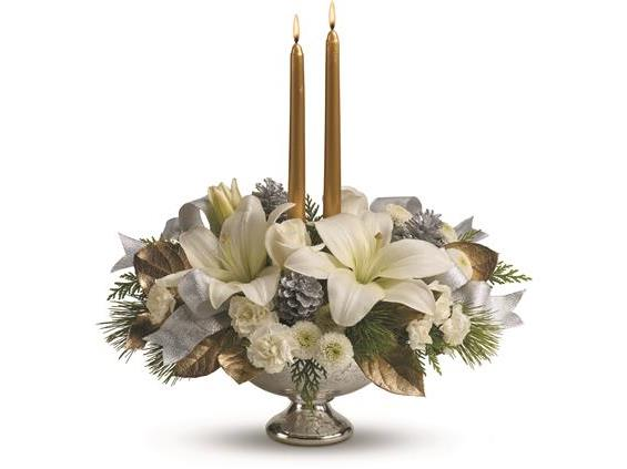 Teleflora's Silver And Gold Centerpiece (TWR09-1A)