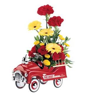 Solidaster Flowers on Teleflora S Fire Engine Bouquet   05j100b   53 95