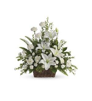 Peaceful White Lilies Basket (T228-1A)