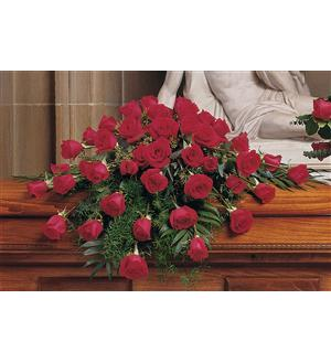 Blooming Red Roses Casket Spray (TF209-4)