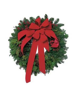 Wreath with Red Velvet Bow (TF84-1)