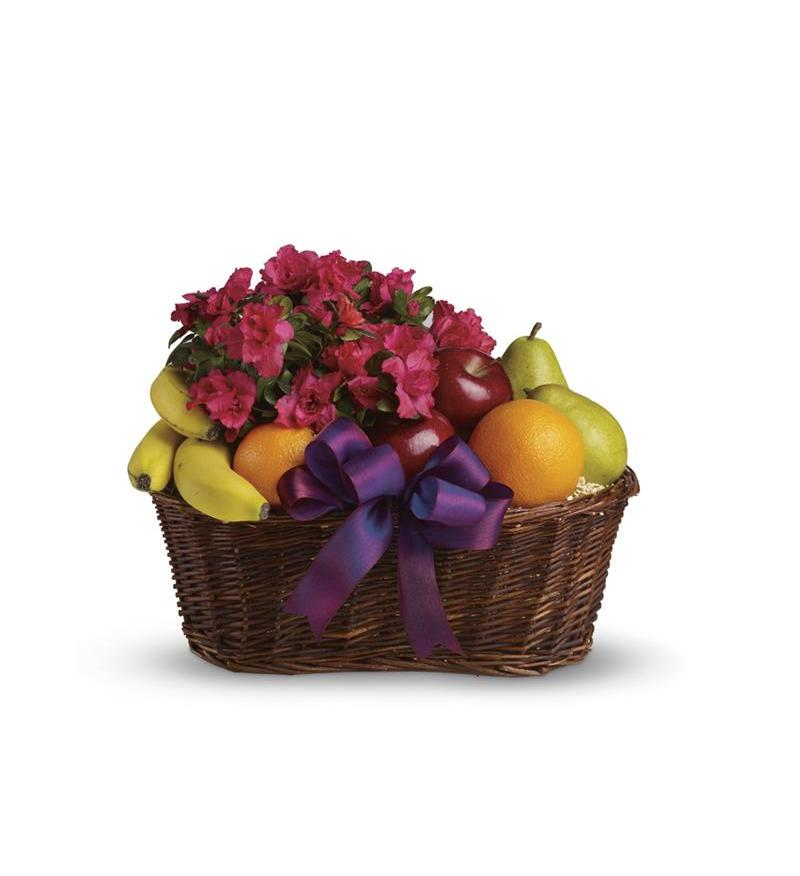 Teleflora Fruits and Blooms Basket - Deluxe Plant Arangement