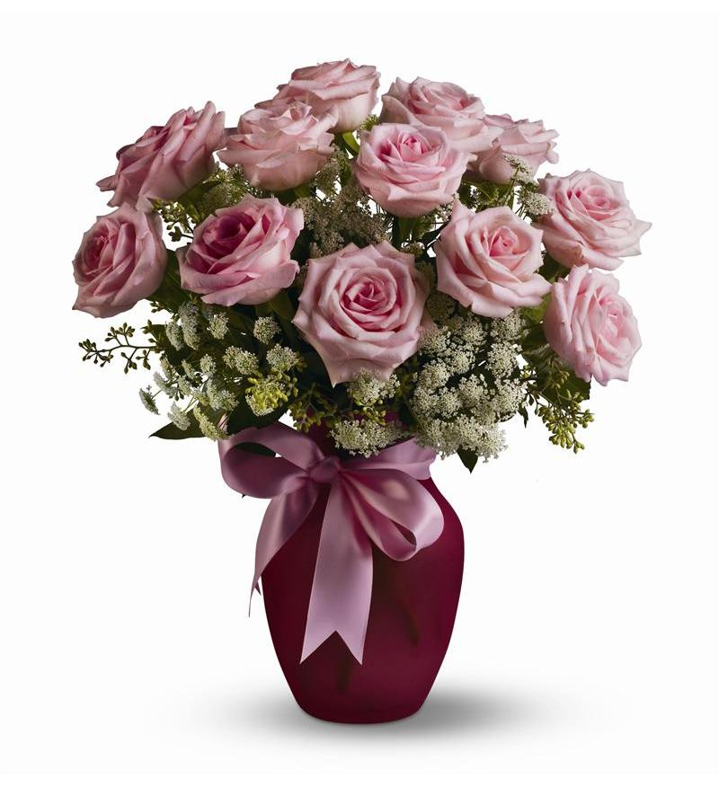 Teleflora A Dozen Pink Roses and Lace Flower Arangement - As Shown