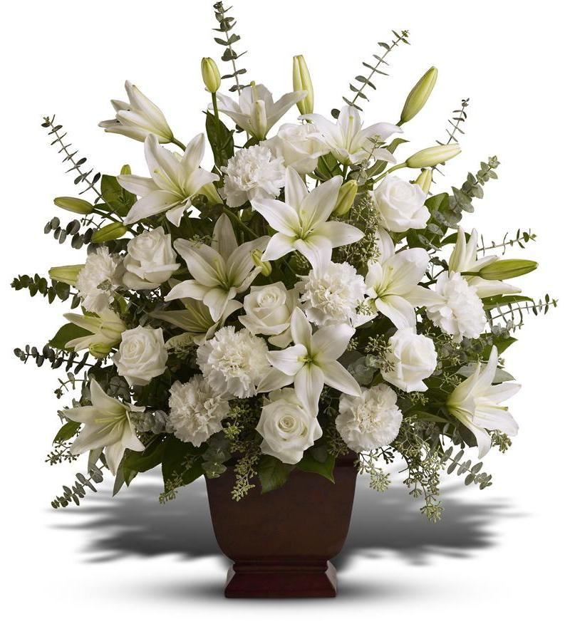 Funeral and memorial service flowers, casket sprays, wreaths, crosses from FTD and Teleflora florists.