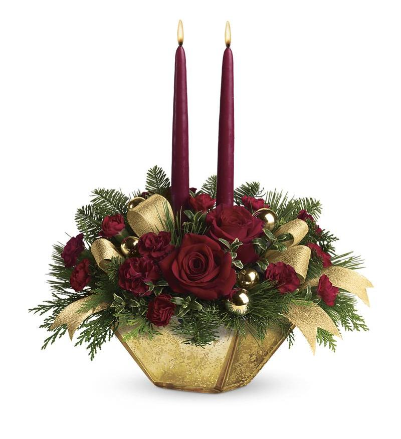 Teleflora S Crimson And Gold Centerpiece Twr06 3a 60 26